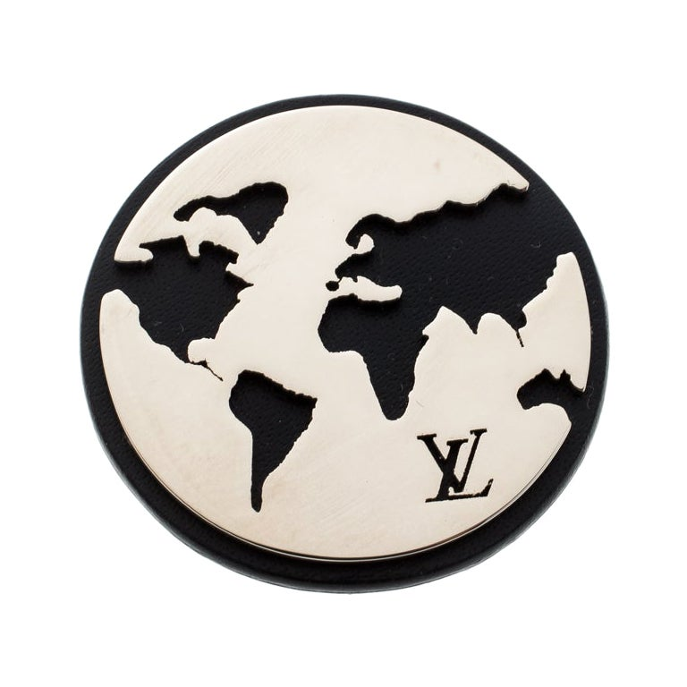 Louis Vuitton Cut Out World Map Leather Silver Tone Pin Brooch