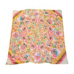 LouisVuitton Sheer Multi Color Floral Silk Scarf