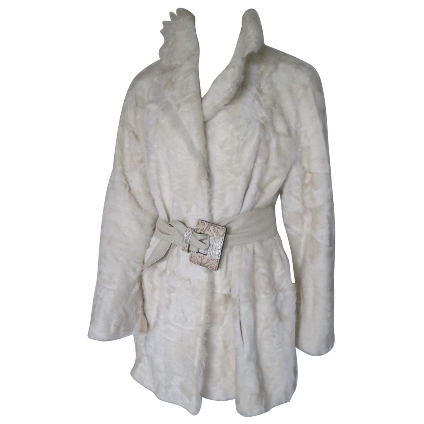 Ivory Goat Lamb Fur Coat Light weight
