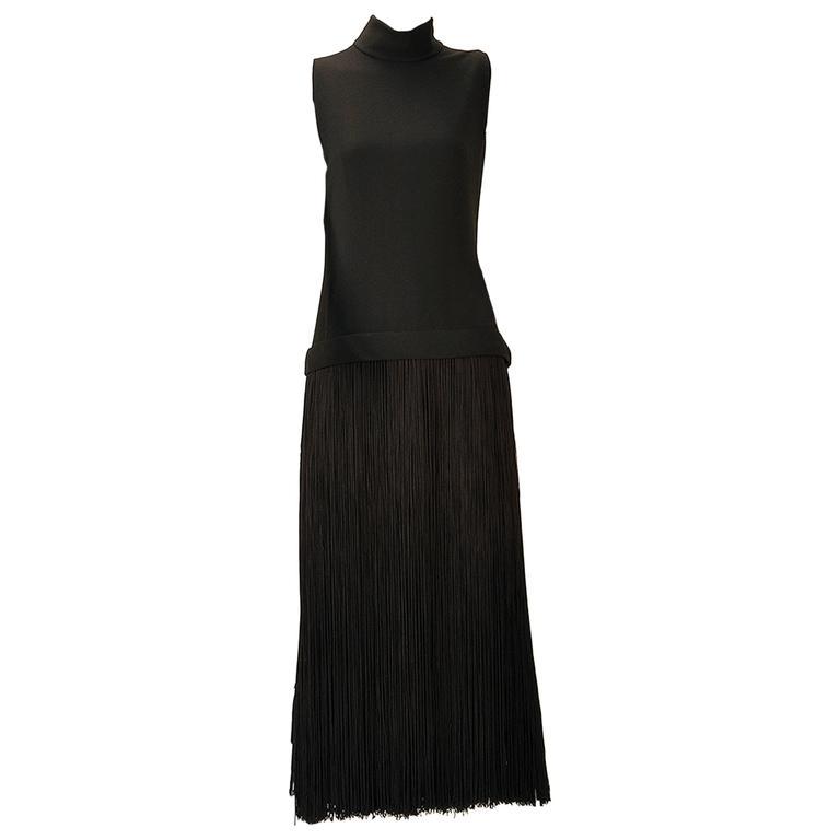 1960s Adele Simpson Black Crepe Fringe Dress For Sale