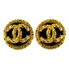 Chanel Vintage Opulent Black Lucite and Gold CC Logo Clip-On Earrings