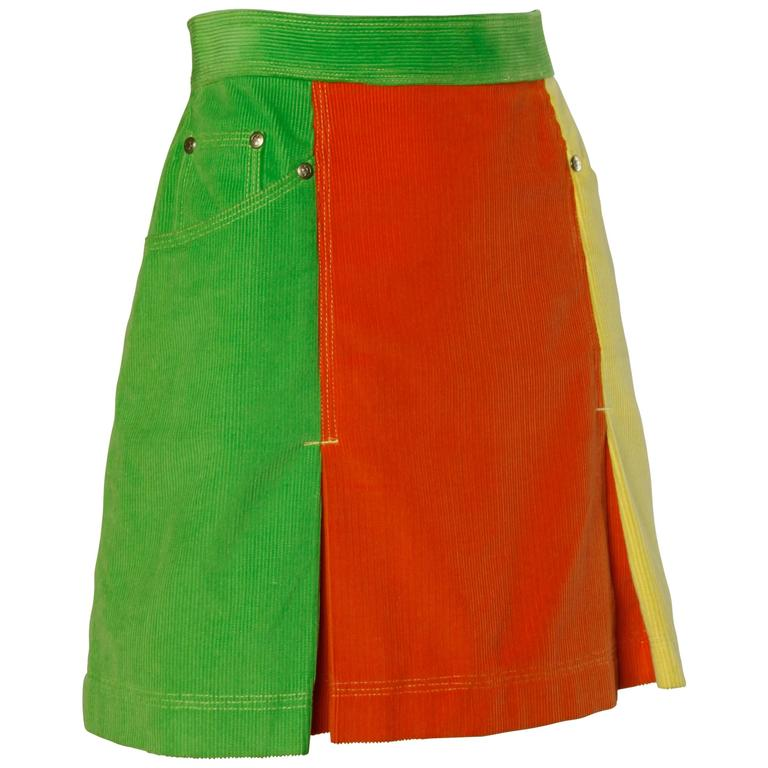 Moschino Vintage Color Block Corduroy Mini Skirt 1
