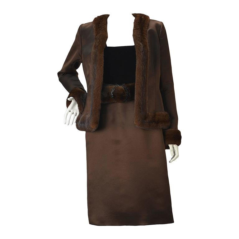 Oscar de la Renta Brown Satin and Mink Ensemble