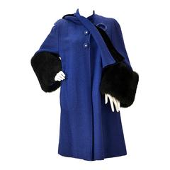 1940s Blue Boucle Wool Coat with Black Lamb Skin Cuffs