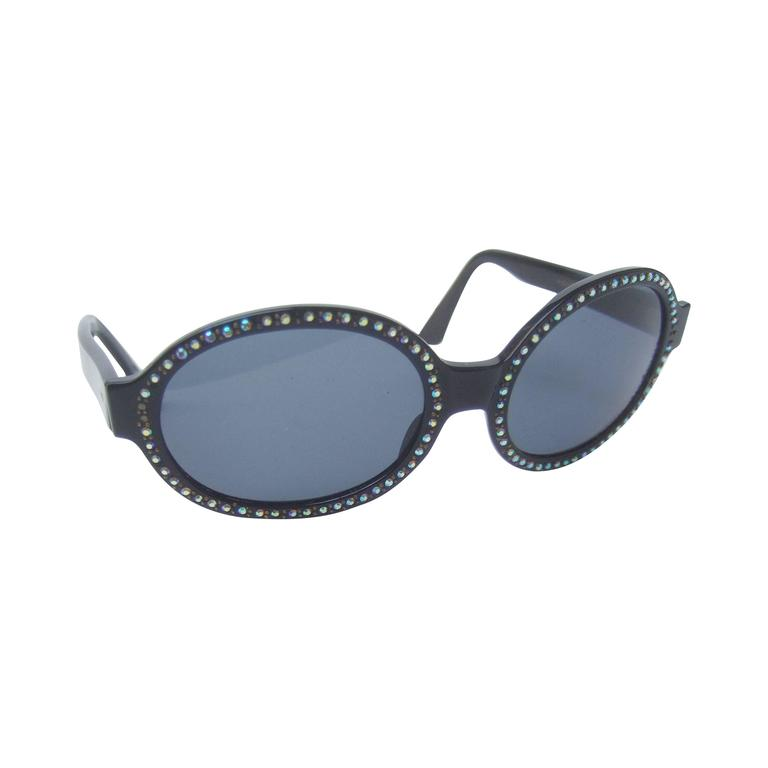 Chic Black Crystal Trim Tinted Sunglasses Made in France c 1970
