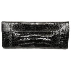 Nancy Gonzalez Black Crocodile Double Flap Clutch