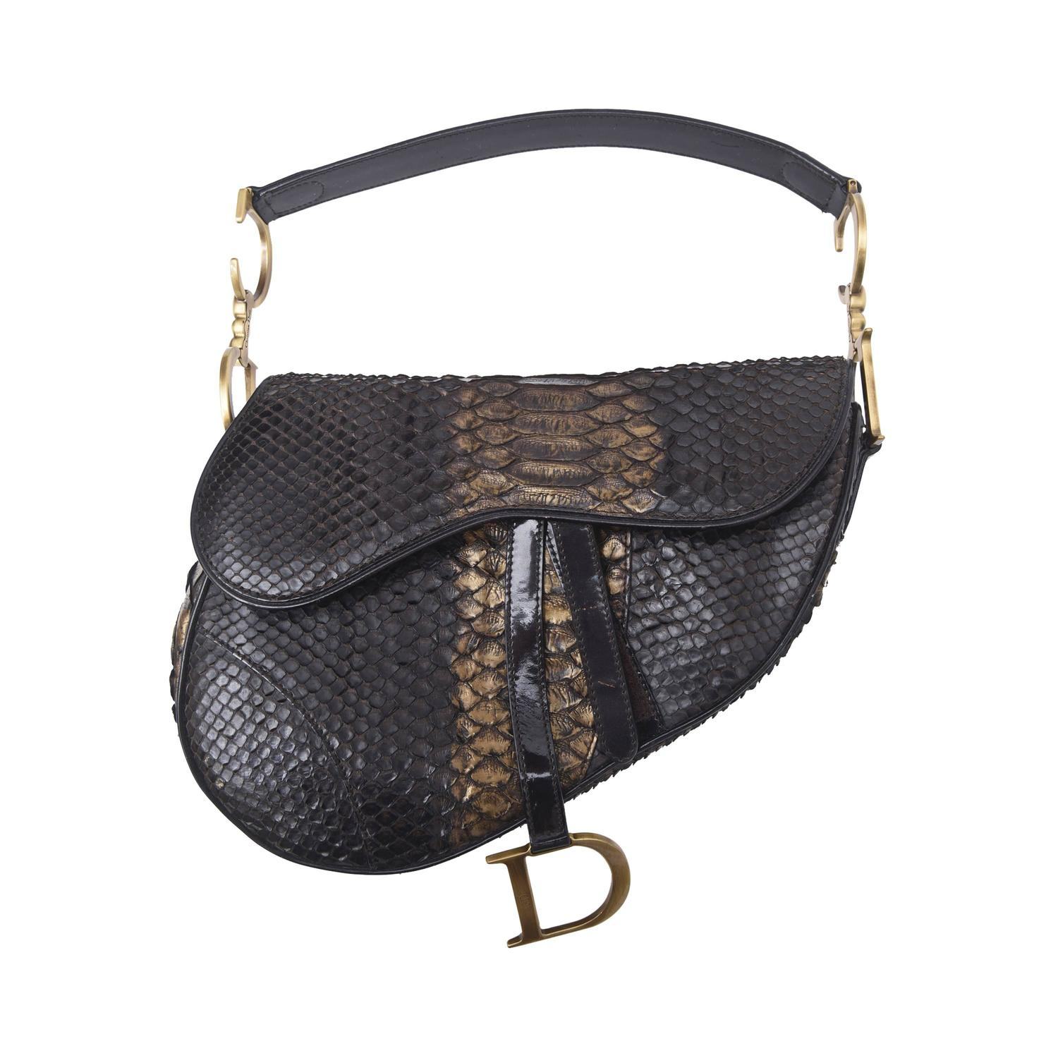 Early Limited Edition John Galliano For Dior Python Saddle Bag At 1stdibs