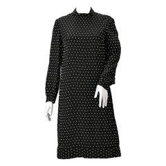1960s Larry Aldrich Black Knit Rhinestone Dress