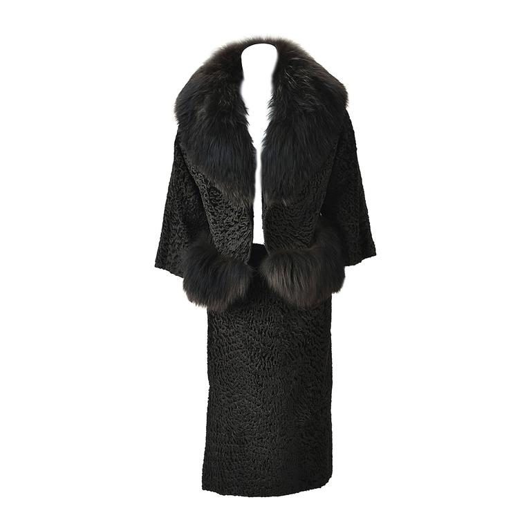 1940s Martha Weathered Custom Black Persian Lamb and Fur Ensemble