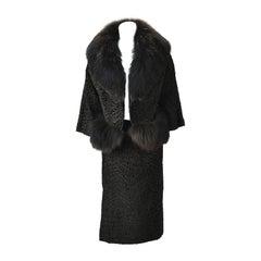 1940s Martha Weathered Custom Black Persian Lamb and Fur Ensemble