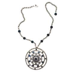 Rhinestone Round Pendant Necklace