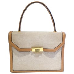 Hermes Tan Canvas Box Leather Top Handle Handbag, 1960s