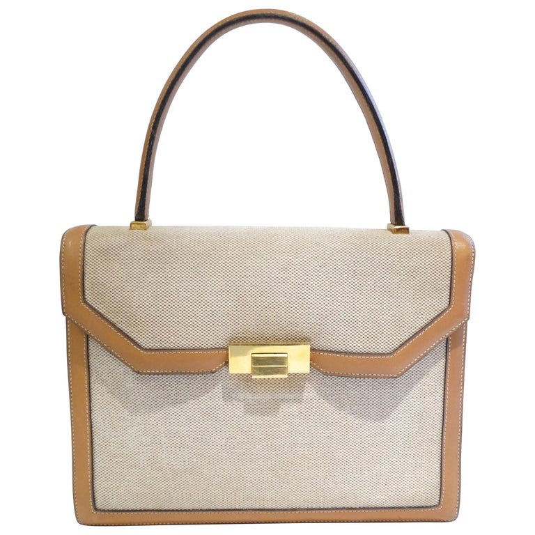 Hermes Tan Canvas Box Leather Top Handle Handbag, 1960s