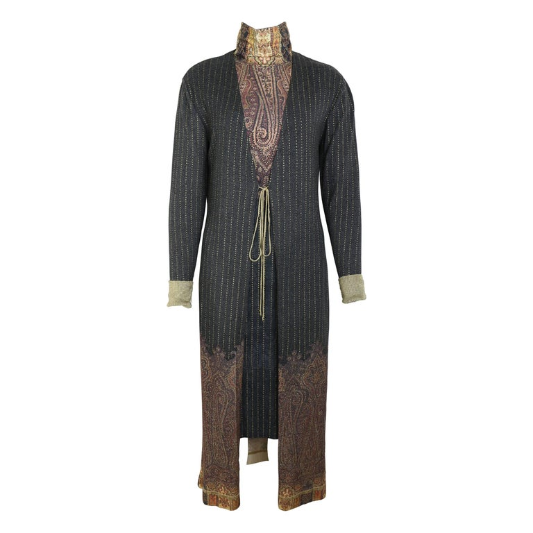 Vintage 90s Roberto Cavalli Art Collection Dress and Long Cardigan  For Sale