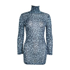 Dolce & Gabbana Metallic Blue Leopard-Print Dress