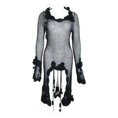 Chanel Black Wool See Through Knitted Dress