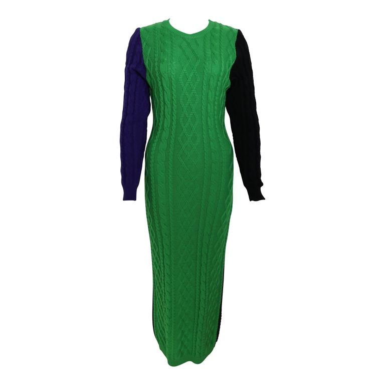 Versus By Gianni Versace Colour-Blocked Knitted Maxi Dress