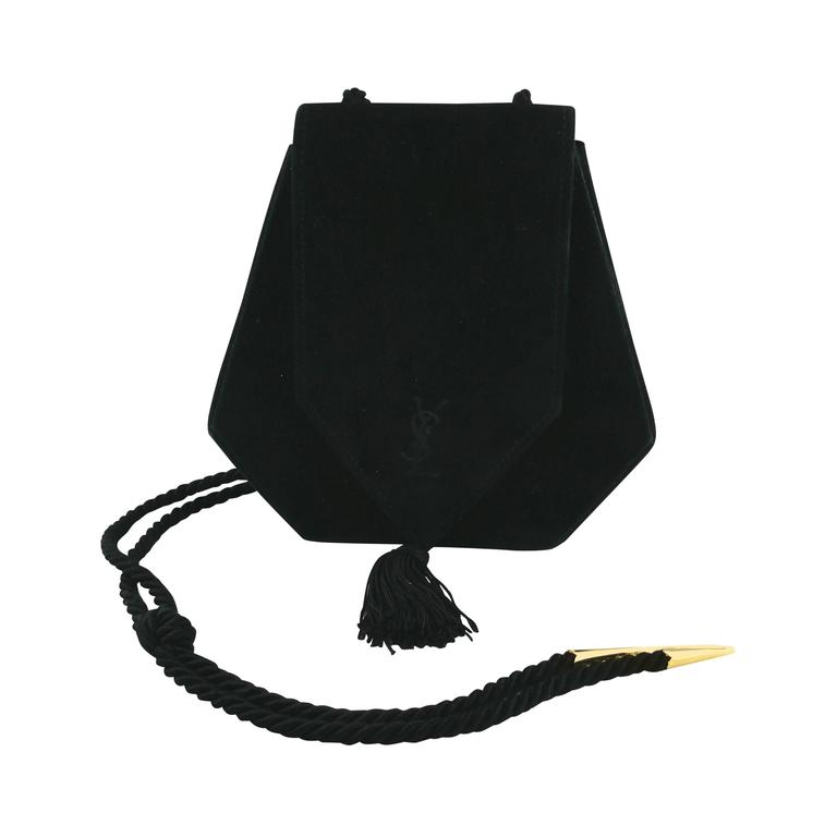 0af71a14c39f Yves Saint Laurent YSL Vintage Black Evening Tassel Suede Bag Purse at  1stdibs