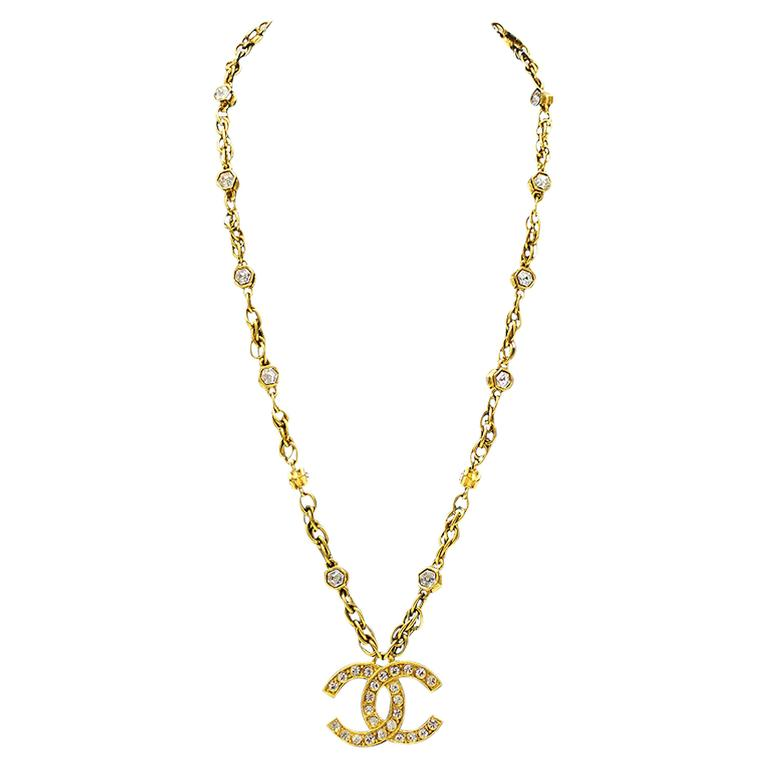 1980's Chanel Chain Necklace with CC Pendant  1