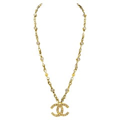 1980's Chanel Chain Necklace with CC Pendant