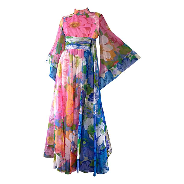 Chic Vintage Mollie Parnis 1970s Floral Chiffon Scarf / Bell Sleeve Maxi Dress