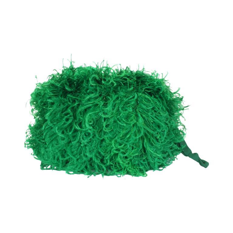 Vibrant Emerald Curled Ostrich Feather Muff