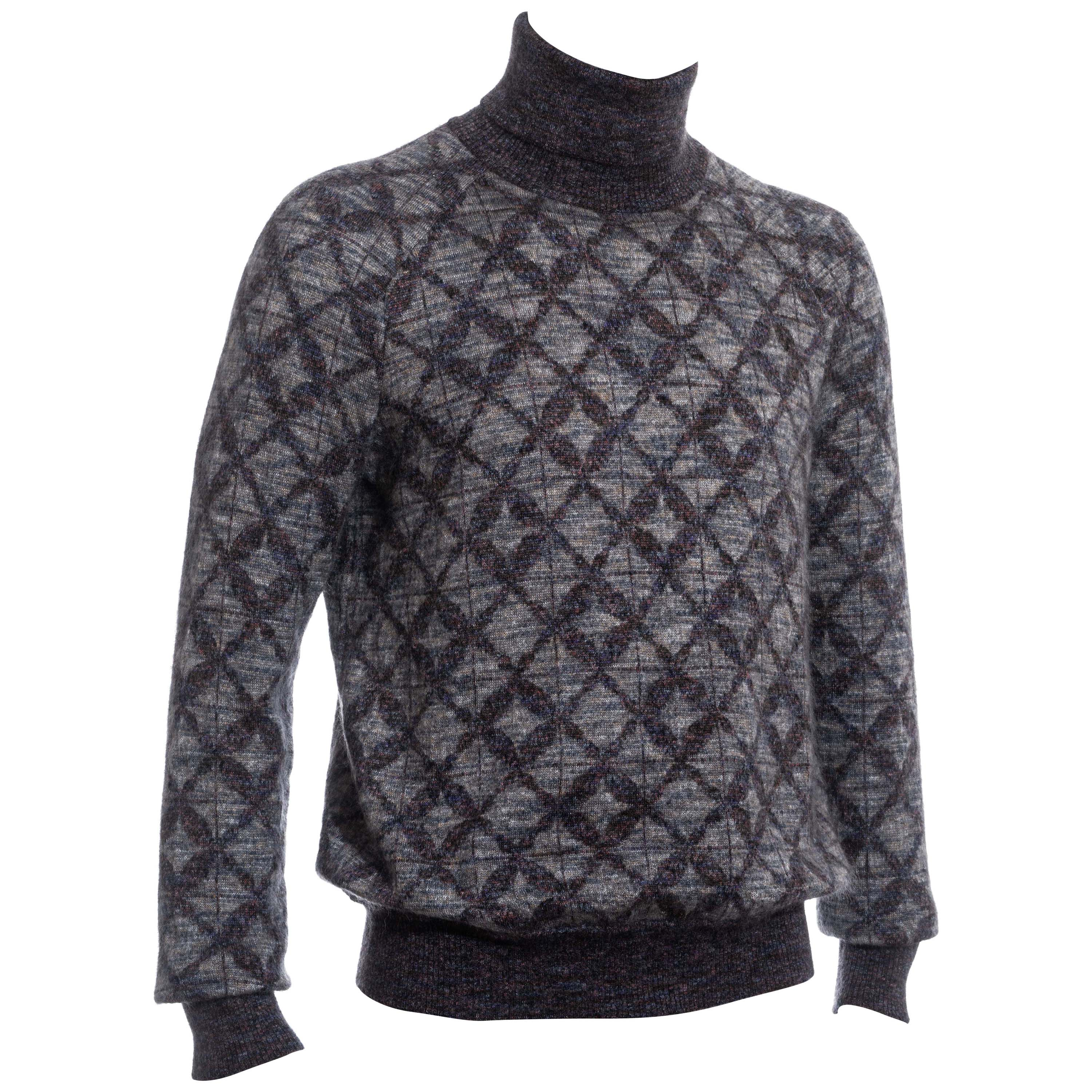 Men's Chanel multicoloured mohair and silk knitted turtle neck sweater, pf 2016