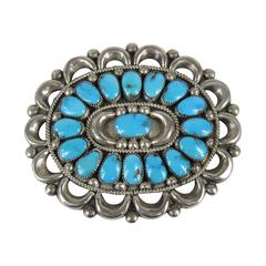 Old Pawn Navajo Sterling Silver Turquoise Pin Pendant