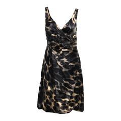 PRADA Silk Sleeveless Animal Print Dress Size 44