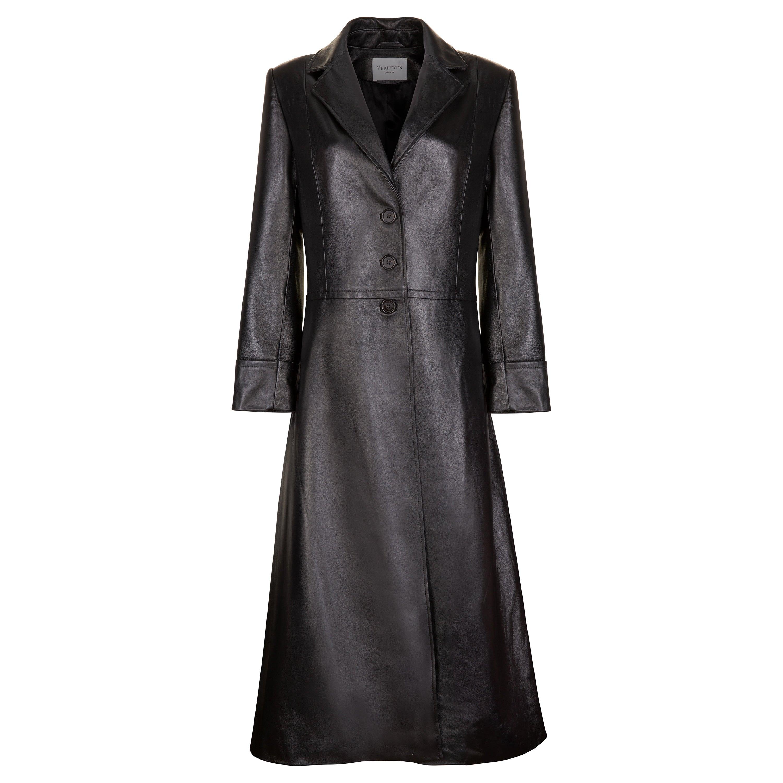 Verheyen London Oversize 70's Leather Trench Coat in Black - Size uk 8