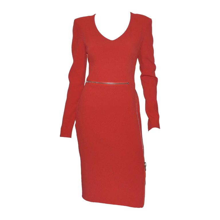 Tom Ford Iconic Zipper Long Sleeve Dress For Sale