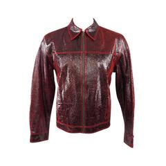 New ROBERTO CAVALLI Men's 44 Leather Black & Red Crackle Leather Jacket