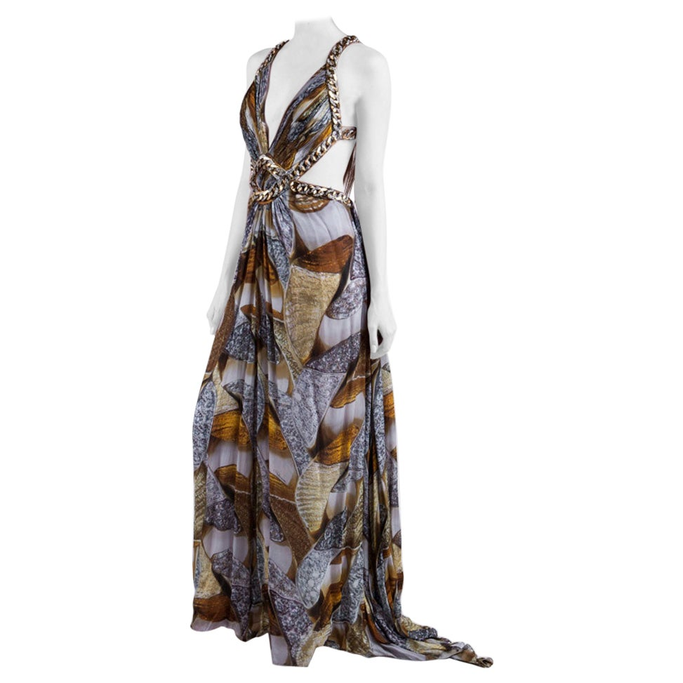 Iconic ROBERTO CAVALLI Chain Embellished Long Silk Dress