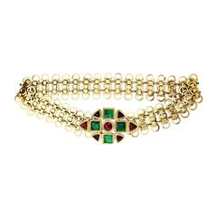 Robert Goossens for Chanel Poured Glass Gilt Link Belt 1960s