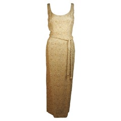 HAUTE COUTURE INT'L Gold Heavily Beaded Gown with Belt Size Large