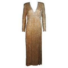 VICTORIA ROYAL Champagne Beaded Gown Size Large