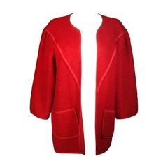 JEAN MUIR Red Wool Jacket Size 6
