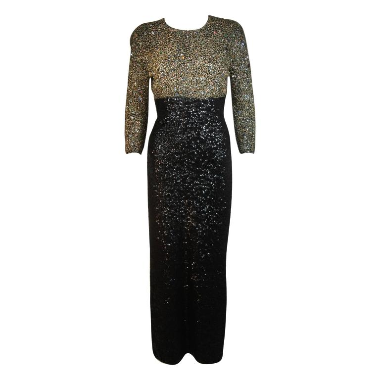 GENE SHELLY'S Boutique Internationale Embellished Stretch Black Knit Gown Size 8
