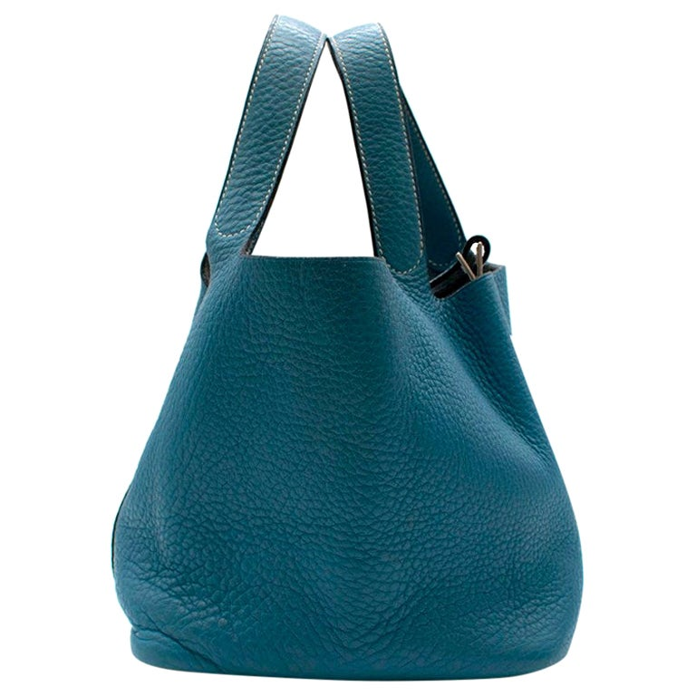 Hermes Clemence Leather Blue Jean Picotin 18 Bag