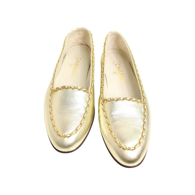 Chanel Classic Gold Leather Flats 1