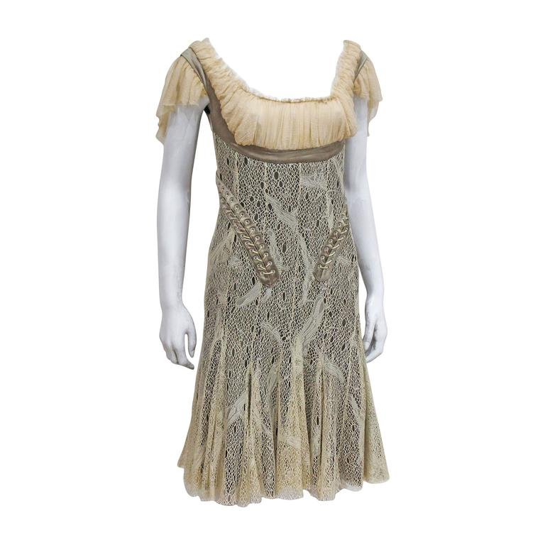 Alexander McQueen corset lace and chiffon cocktail dress, c. 2002  For Sale