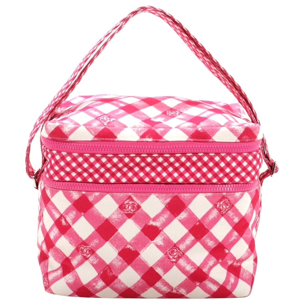 Chanel Lunch Box Shoulder Bag in Pink Gingham