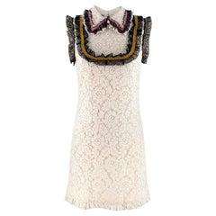 Gucci Ivory Lace Sleeveless Shift Shirt Dress with Lace Ruffled Trim - Size US 4