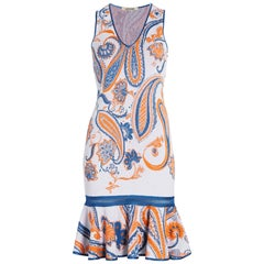 Roberto Cavalli Paisley Jacquard Knit Sleeveless Fitted Cocktail Dress Size 40