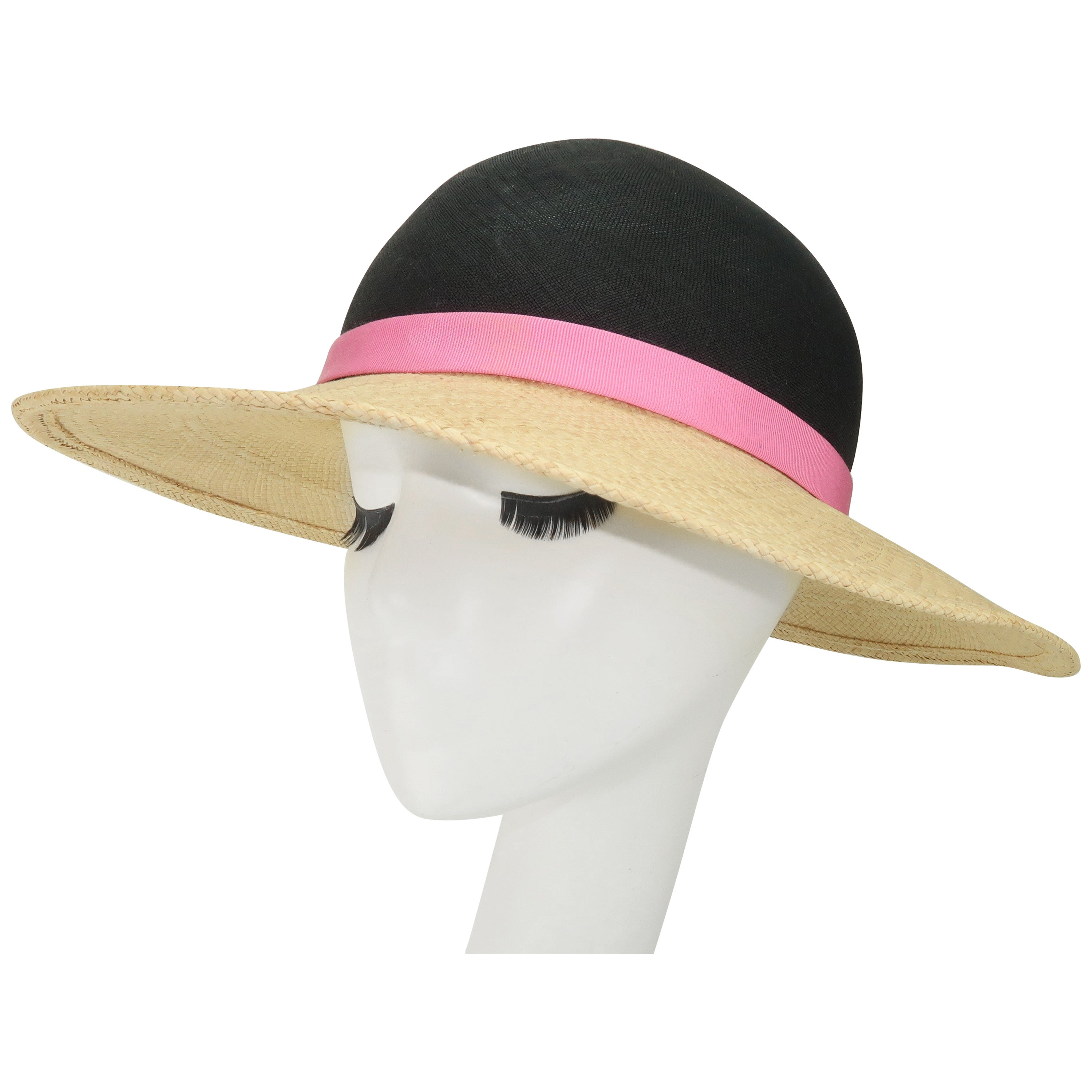Vintage Adolfo II Midnight Blue Straw Hat With Hot Pink Band