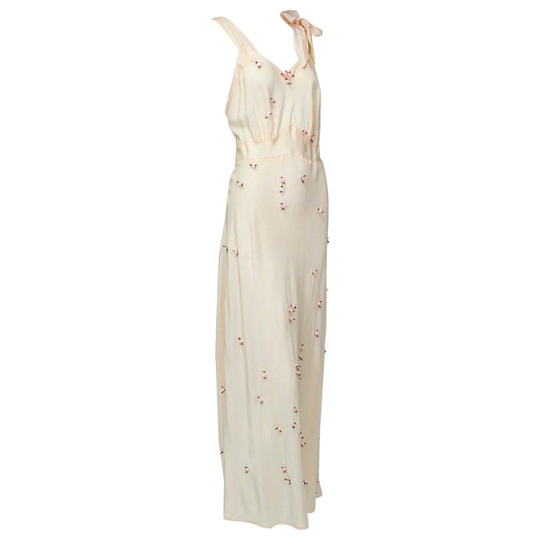 Baby Pink Bias Tie-Shoulder Nightgown with Rosebud Appliqués – M, 1930s