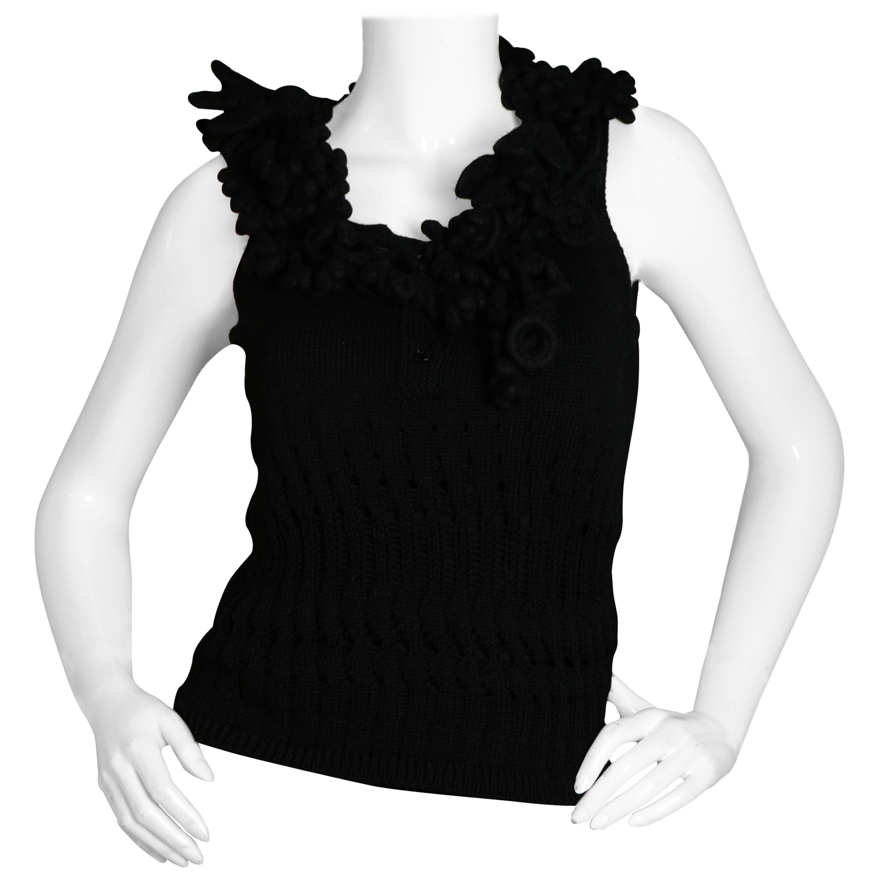 Chanel Black Knit Sleeveless Wool/Cashmere Top w/Chunky Crochet Trim FR38