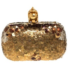 Alexander McQueen Gold Sequins Jaw Skull Clutch
