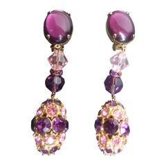 Massive Glittering Amethyst Crystal Dangling Earrings c 1970