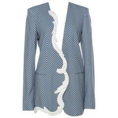Stella McCartney Blue & White Print Heavy Applique Detail Oversized Blazer M